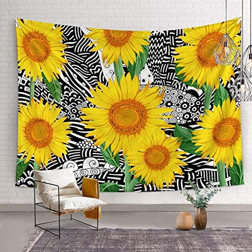 Bonsai Tree Sunflower Tapestry, Psychedelic Trippy Queen Wall Tapestries for Girls, Nature Florals Yellow Black and White Wall Hanging Art for Living Room Dorm Home Decor, 68.9×92 Inches