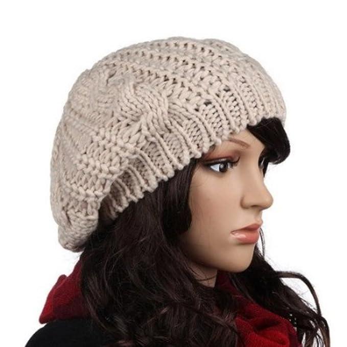 c1629b7e QMY® Slouchy Beanie Winter Lady Women Baggy Beret Chunky Knit Knitted  Braided Beanie Hat Ski Cap