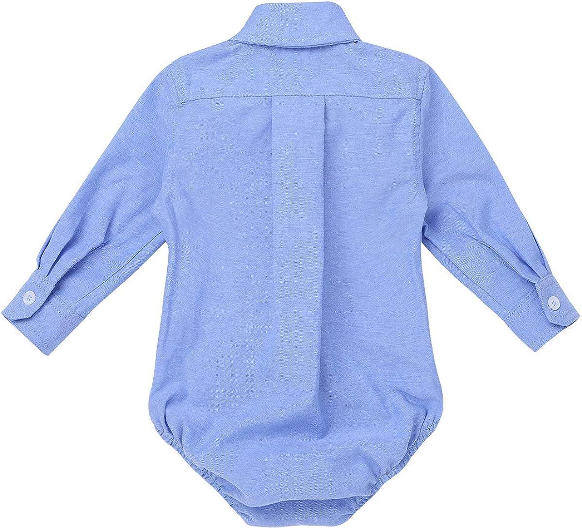 Alvivi Shirt Chemise Bleu /à Manches Longues B/éb/é Fille Gar/çon Body Barboteuse Costume de Bapt/ême C/ér/émonie Soir/ée Casual Combinaison Automne Hiver Printemps 3-24 Mois