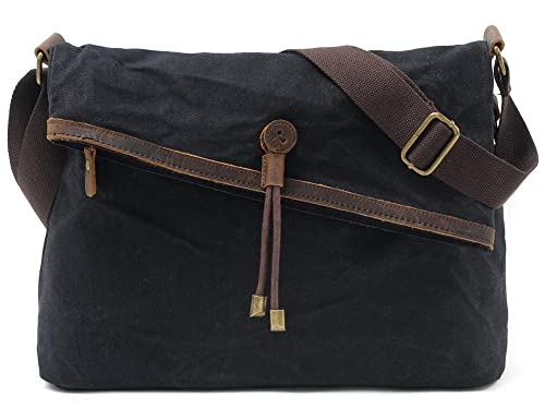 0539a8078a Crossbody Bags for Women Waxed Canvas Messenger Purse Over The Shoulder Bag  Unisex Satchel Hobo Purses for Men Retro Genuine Leather Waterproof  (Black)  ...