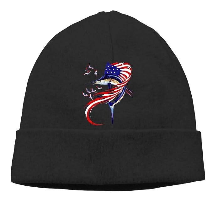 6152e26f93417 Amazon.com  BaiRIhe Beanie Knit Hat for Man Women Skull Cap Fishing American  Flag Fold Beanie Toque  Clothing