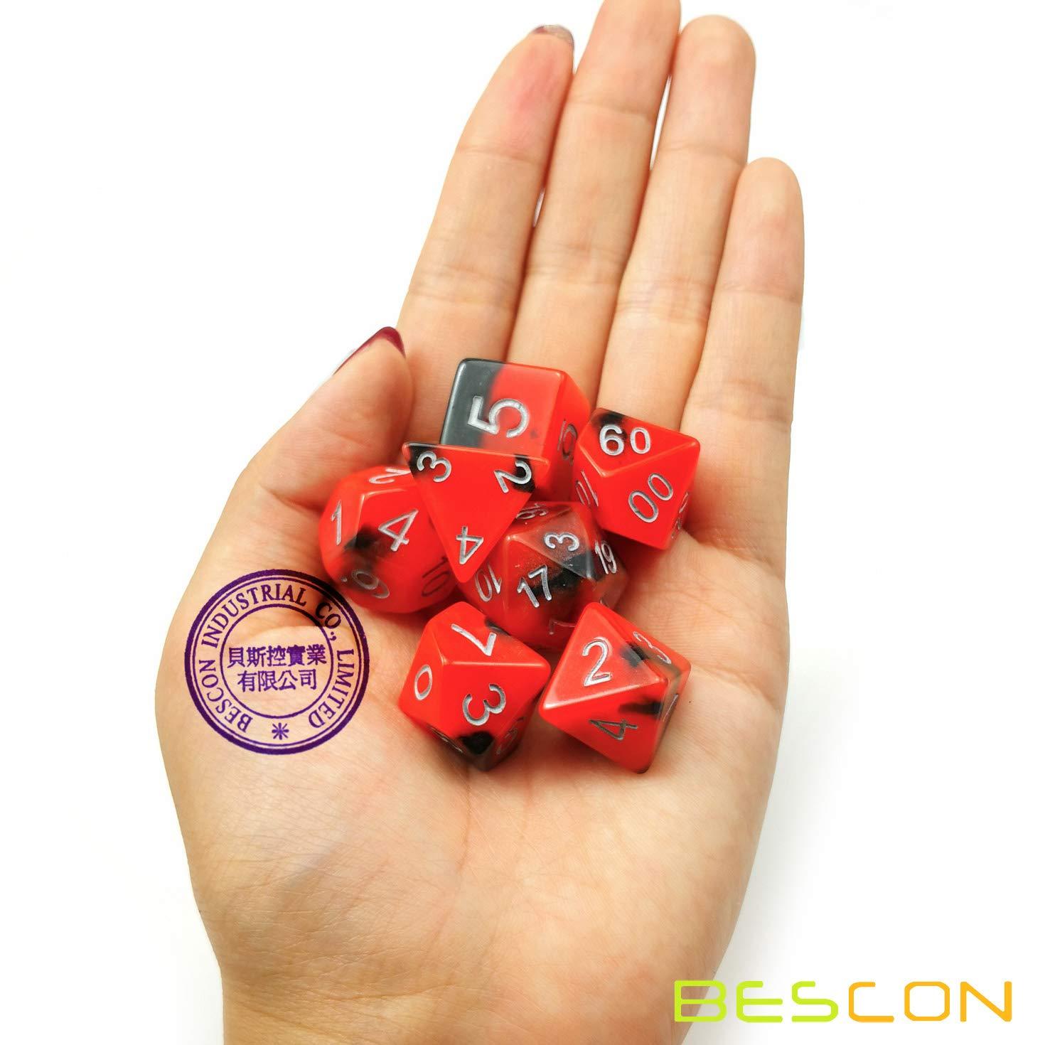 Bescon Gemini Glowing Poly/édrique d/és Lot de 7 HOT ROCKS lumineuse RPG Dice Ensemble D4 D6 D8 D10 D12 D20 D/% Brick Box Emballage