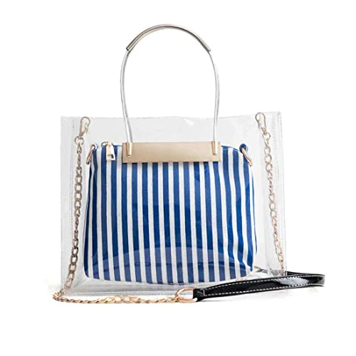 6a28a6ffb Clear Tote Bag Ladies Transparent Plastic PVC Crossbody Handbag with  Striped Purse