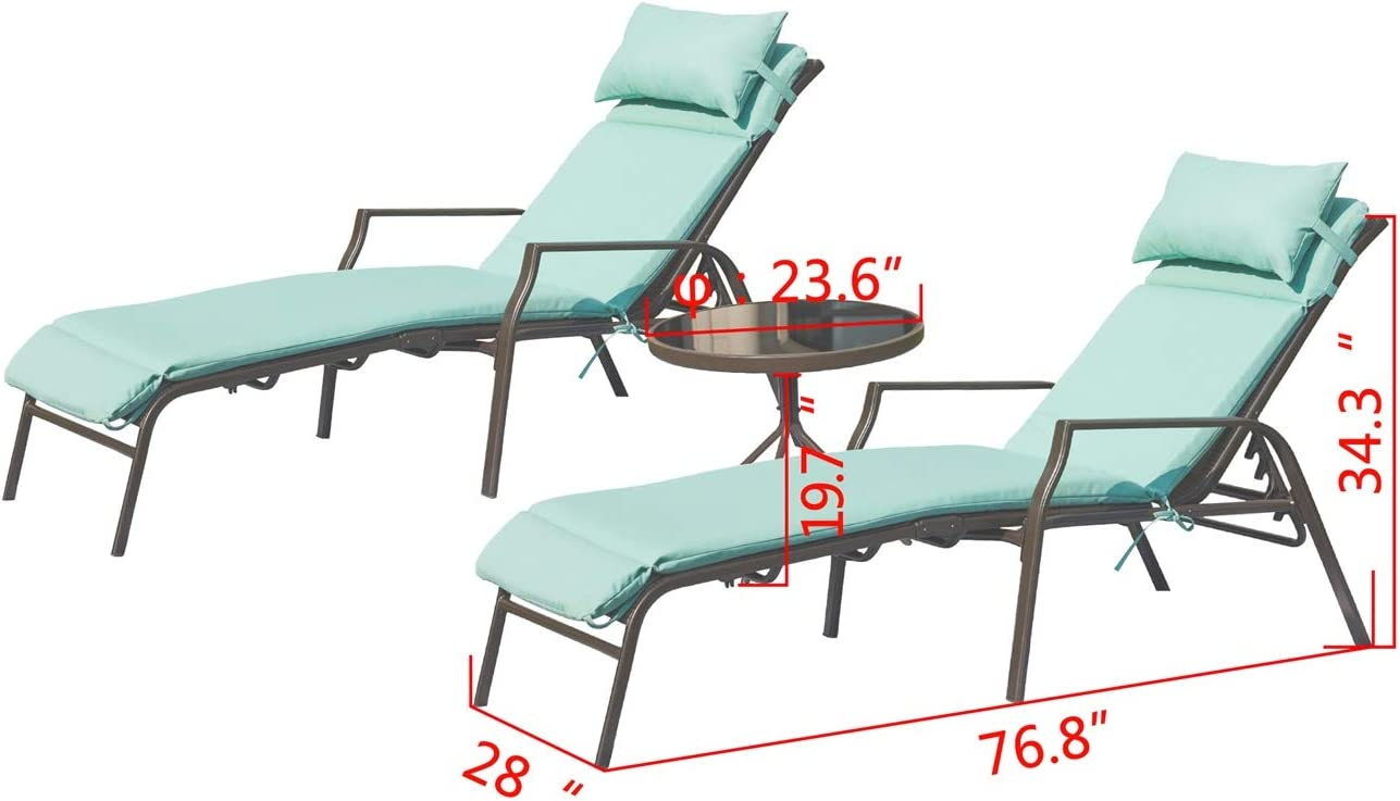 3 Piece, Blue PatioFestival Outdoor Lounge Chair Patio Chaise Chairs Metal Frame Adjustable Portable Leisure Recliner /& Folding Table Camping Pool Beach Yard