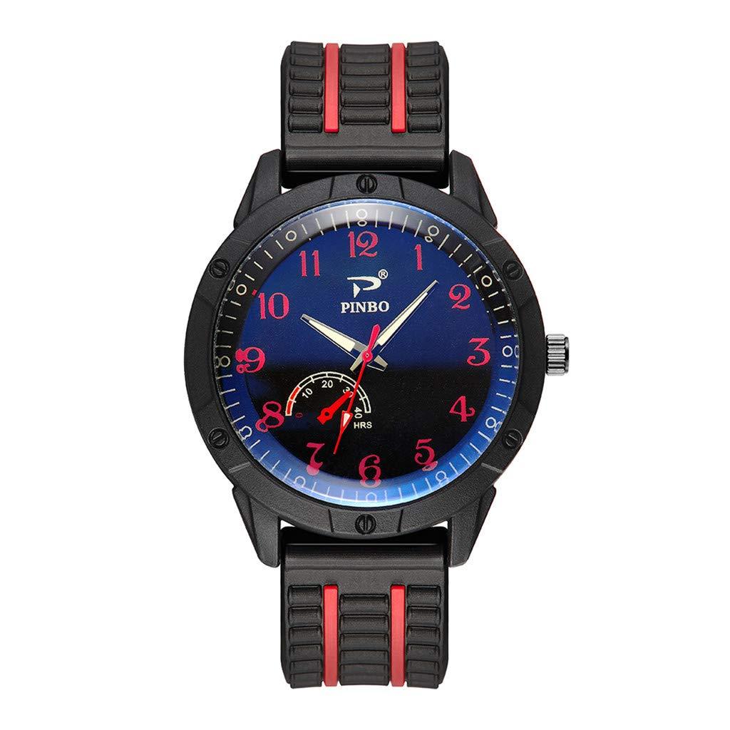 Zainafacai Waterproof Watch,Men Quartz Watch Personality Soft Silicone Rubber Strap Sports Fashion Simulated Retro