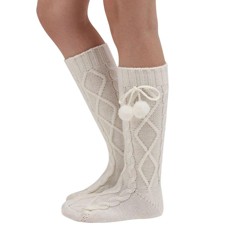 Muangan Women Knitted Long Boot Socks Thigh High Stocking