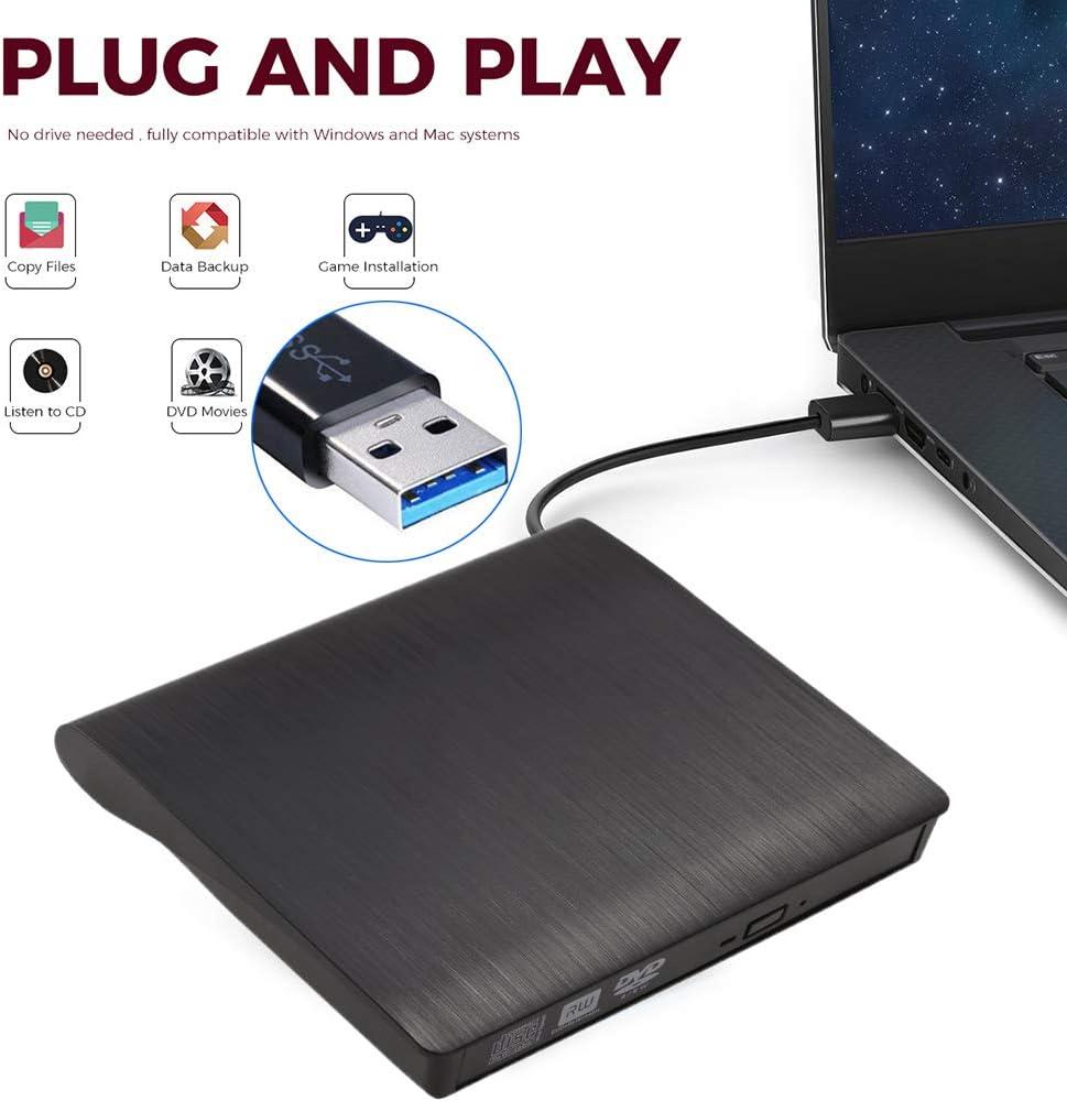 External DVD CD Burner Drive for Laptop USB 3.0 Portable External CD-RW DVD-RW Player Drive Writer Rewriter for iMac/MacBook Air/Pro PC Desktop Windows7/8/10 (Black)