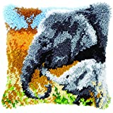 Latch Hook: Cushion: Elephant Baby & His Mother