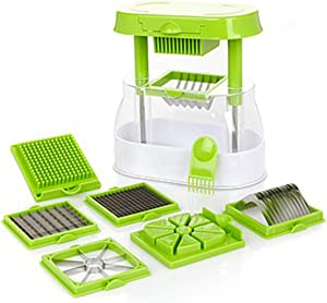 Ronco Veg-O-Matic Deluxe, Fruit and Vegetable Chopper, Interchangeable Stainless-Steel Blades, Food Cutter, Catch Container, Dishwasher Safe (Green)