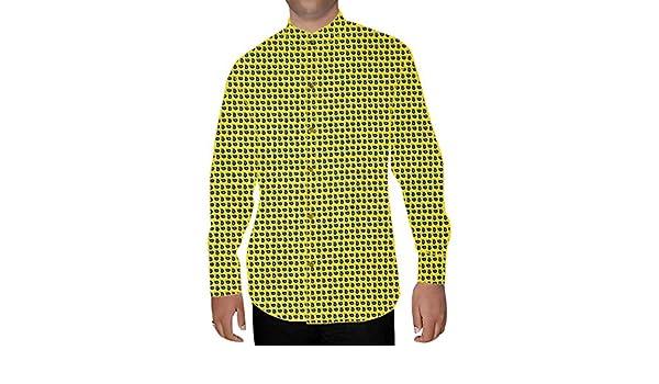 INMONARCH Mens Yellow Printed Nehru Collar Shirt NSH15270XX-LARGE XX-Large Yellow
