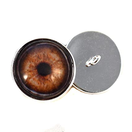 Brown Dog Sew On Glass Eyes 16mm Button Loops for Soft Fabric and Crochet Dolls