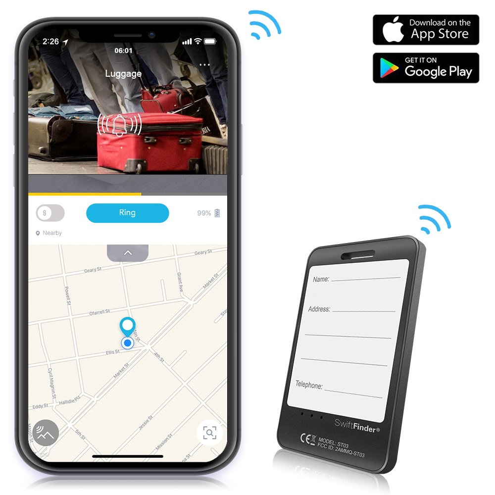 GLCON Luggage Tracker Device App, Bluetooth Trackers Tag Suitcase Baggage - Anti-Lost Smart Wireless Locator Tags Finder Alarm