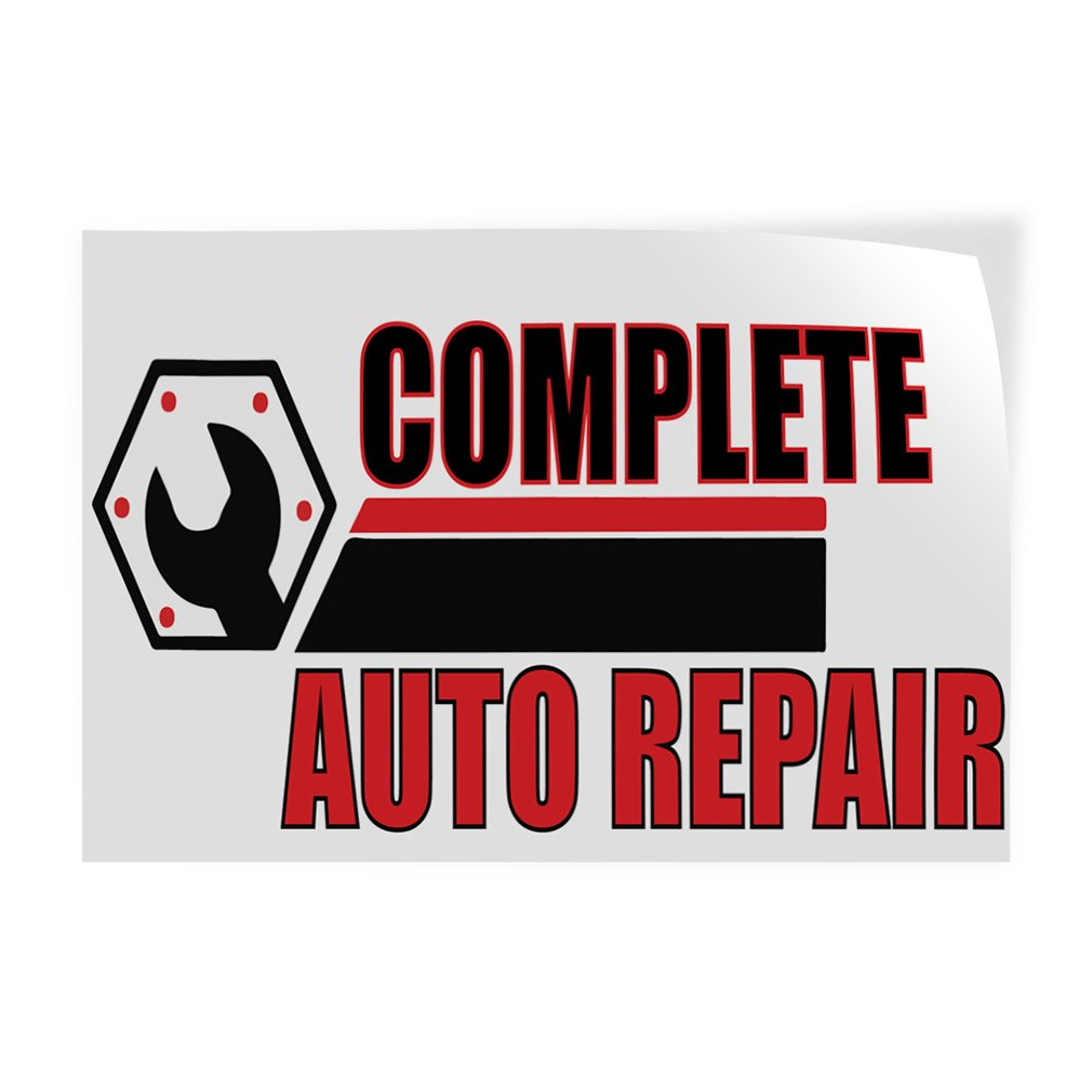 30inx20in Set of 10 Decal Sticker Multiple Sizes Complete Auto Repair #1 Automotive Commercial Auto Repair Outdoor Store Sign White