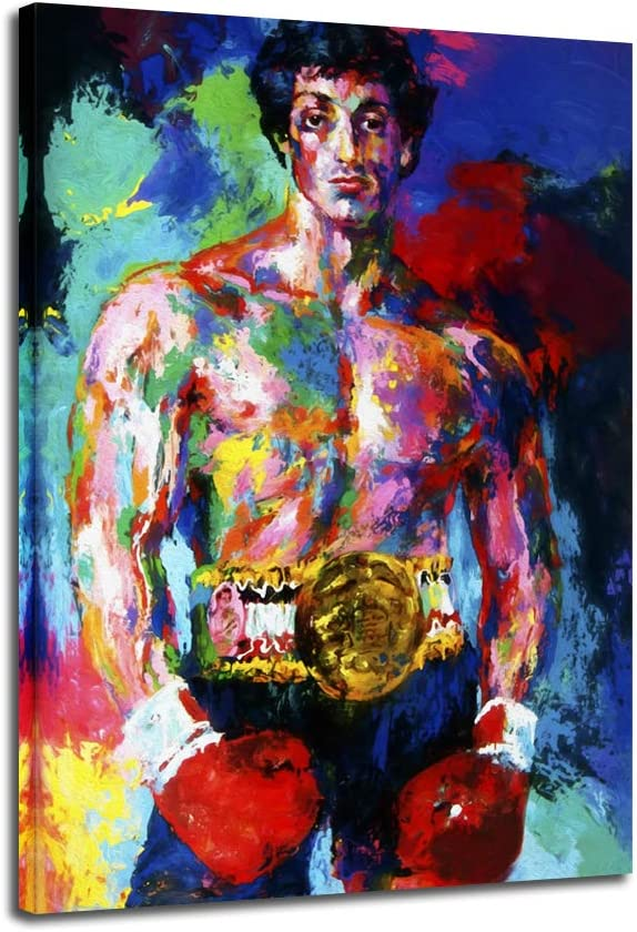 Boxing Poster,Rocky Poster,Boxing Sports Colorful Canvas Wall Art Movie Decor for Kitchen Wall Decor,Rocky vs Apollo Picture Drawing Room Decor Artwork Framed and Stretched (C, 32x48inch(80x120cm))