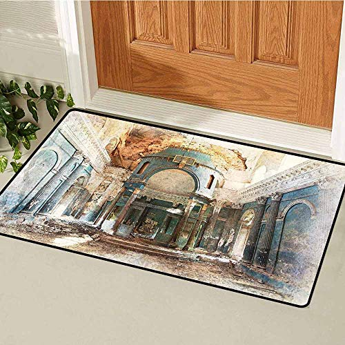 GloriaJohnson Antique Inlet Outdoor Door mat Old Ancient Renaissance Era Architecture with Columns Artwork Print Catch dust Snow and mud W19.7 x L31.5 Inch Petrol Blue Beige Marigold