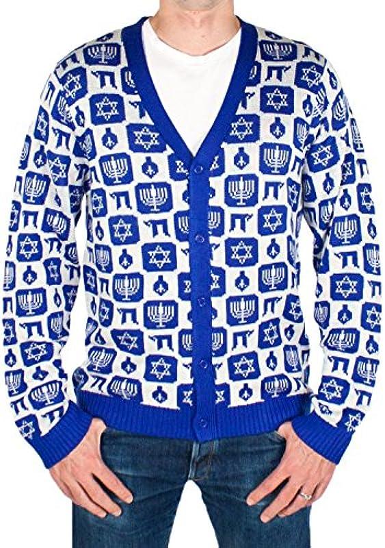 Festified Męskie Classy Chanukah Cardigan Sweater (Blau) Ugly Holiday Sweater: Odzież