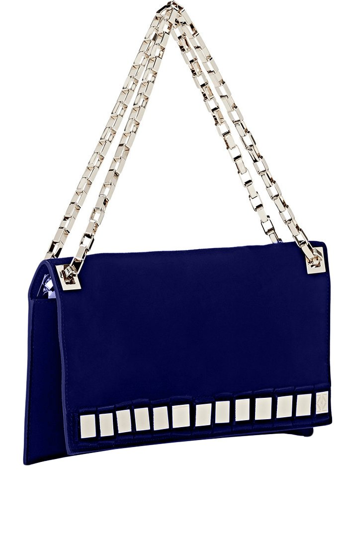 Tomasini Blue Suede Mirror Embellished Clutch by Tomasini