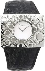 Salvatore Ferragamo Wrist Watch for Women Diamond Inlay Leather, Black