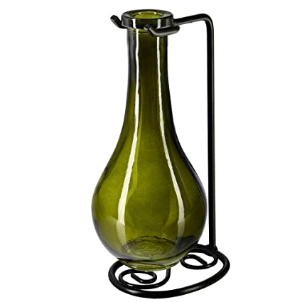 49a86738735c Couronne Company M402-200-22 Drop Recycled Glass Vase & Metal Stand, 8