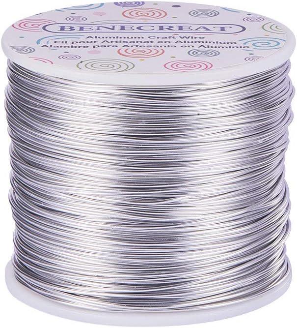 BENECREAT 150m Alambre de Aluminio Anodizado Fabricación de Artesanías Rebordeado Alambre de Artesanía de Aluminio de Color Floral (1mm- Plata)