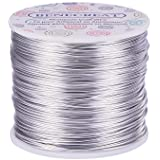 BENECREAT 12 17 18 Guage Aluminum Wire (18 Gauge,492 FT) Anodized Jewelry Craft Making Beading Floral Colored Aluminum Craft Wire - Silver