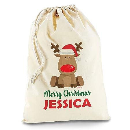 personalised santa sacks reindeer and banner amazon co uk