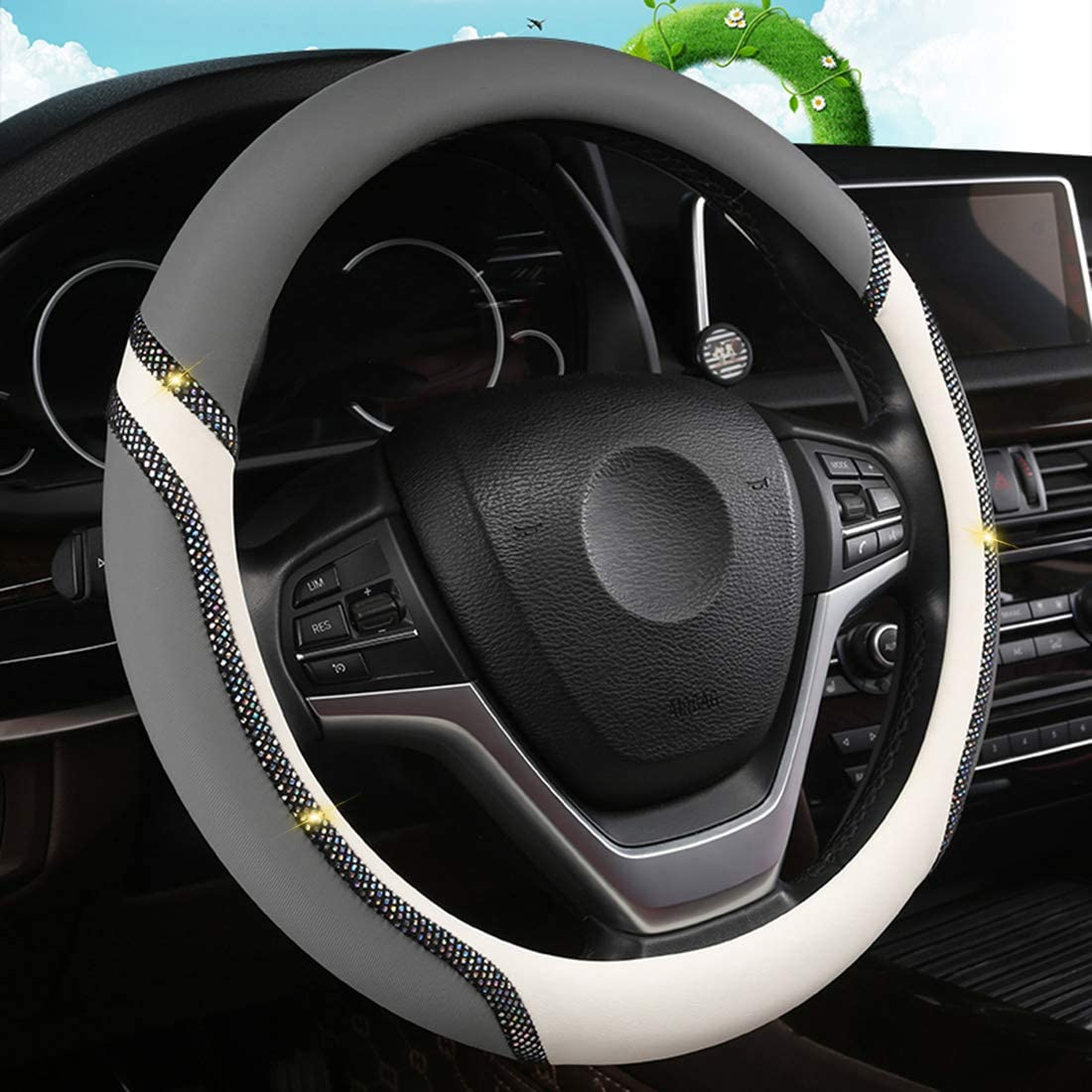 Black GIJITIF Bling Bling Steering Wheel Cover for Women Fashion Universal Steering Wheel Protector 15 inches