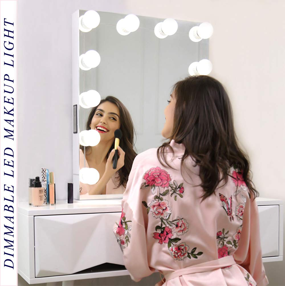 Vanity Light Mirror Hollywood LED Lights For Mirror With 10 Dimmable Light Bulbs, Oroncho Vanity Light Kit Lighting Fixture Strip For Bedroom Makeup Vanity Table Set Dressing Room (Mirror Not Include) by Oroncho (Image #1)