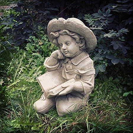 Four Seasons  Large Garden Little Boy Statue Grey Stone Little Boy Child  Garden Ornament Statue