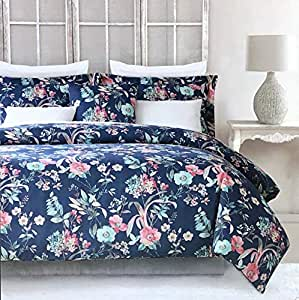 Cynthia Rowley Bedding 3 Piece Queen Size Bed Duvet Comforter Cover Set Floral Pattern with Large Flowers in Shades of Pink Light Blue Gray Yellow on Dark Blue