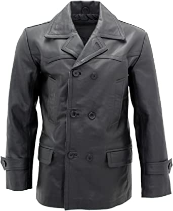 Men German Major Military Style Black Leather Hip Length Double Breasted jacket
