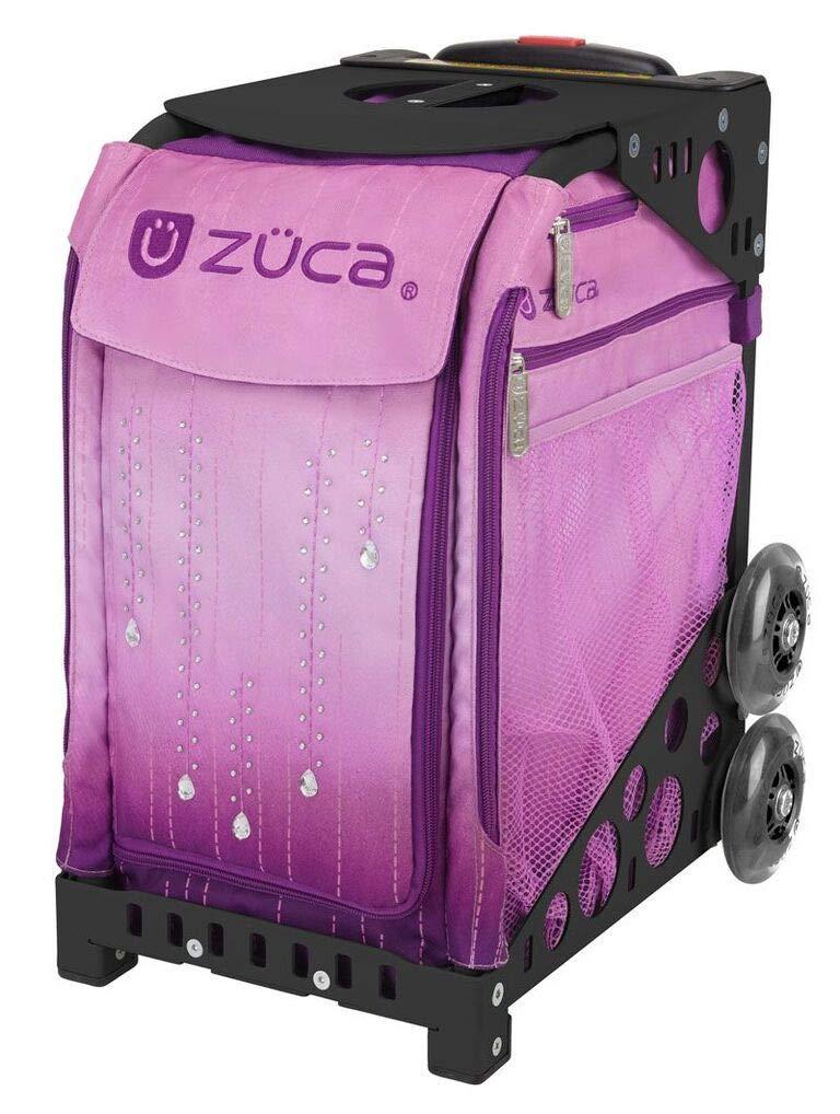 ZUCA スポーツスーツケース 内蔵シート付き – ベルベットレインインサートバッグ フレームカラーを選択 黒 w/ Flashing Wheels