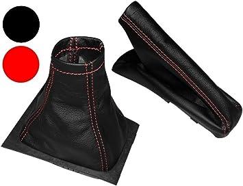 Cuffia leva cambio e freno a mano in pelle sintetica nero con cuciture rosso AERZETIX
