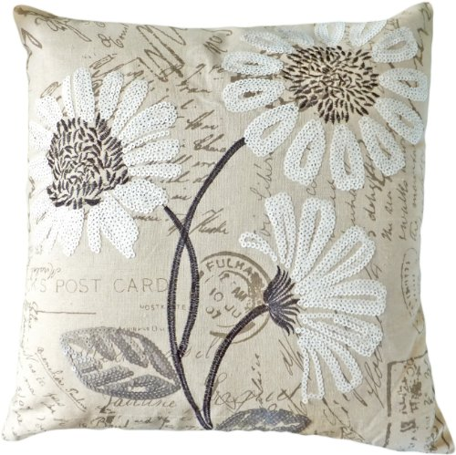 HOMETALE Â White Sequins Daisy Floral Decorative Throw Pillow Cover 18