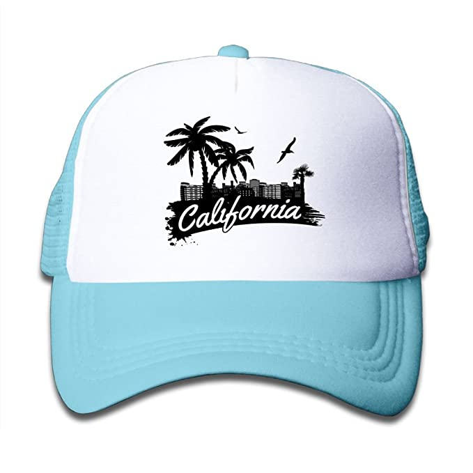 e168beb1f13 Fun Palms California Beach Kids Adjustable Mesh Hats For Boys Girls Toddler  Cotton Hip Hop Trucker