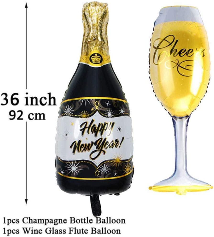 Rcd Champagne Wine Bottle Cup Foil Balloon Wedding Anniversary 18 21 30 40 50 60 Decoración de Fiesta de cumpleaños para Adultos, 2 Piezas año Nuevo: Amazon.es: Hogar