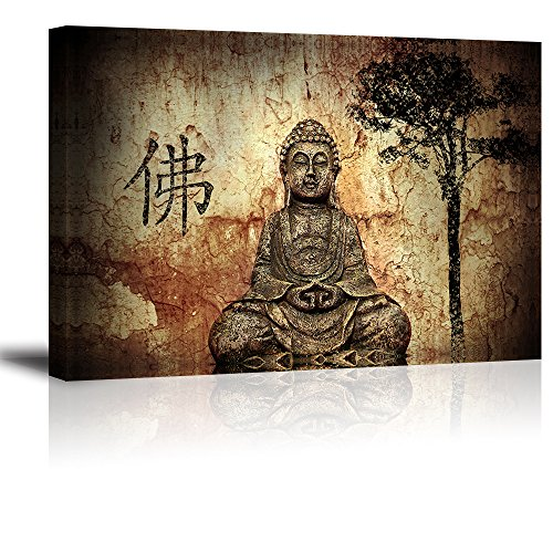 PIY 1 Panel Buddha Wall Art, Zen Canvas Prints Wall Décor (1
