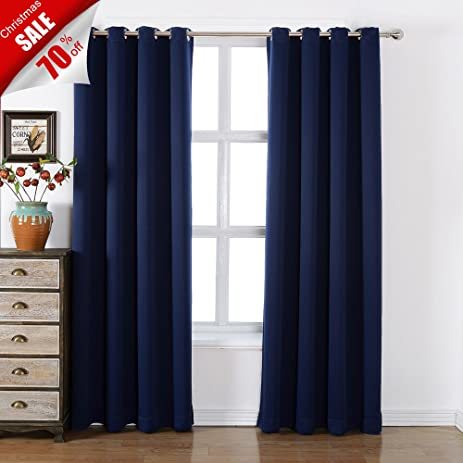 Sleep Well Blackout Curtains Toxic Free Energy Smart Thermal Insulated,52 W  X 84 L Inch