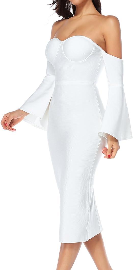 houstil Women/'s Strapless Flare Sleeve Bodycon Bandage Evening Party Dress Vestido
