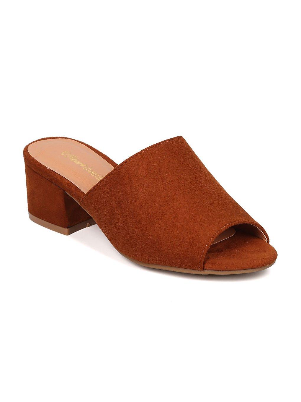 Indulge Heartthentic Gladys-10 Women Faux Suede Peep Toe Chunky Heel Mule HA12 - Tan Faux Suede (Size: 6.5)
