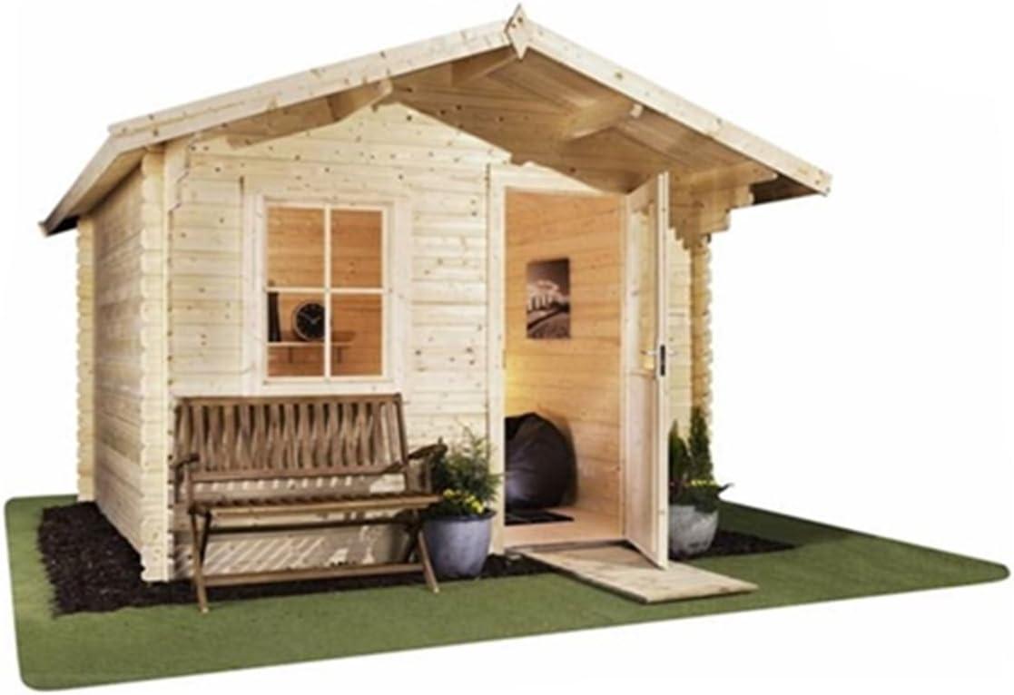 304, 8 cm x 243, 84 cm (3 m x 2, 4 m) henselite próstilo cabaña (doble acristalamiento) libre (44 mm) + fieltro piso: Amazon.es: Jardín