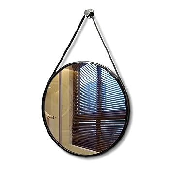Miroir suspendu au mur, rond miroir de salle de bain miroir en fer ...