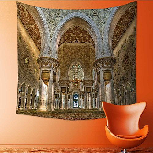Shiekh Girl - AuraiseHome Popular Art Tapestry Interior of shiekh zayed Mosque abudhabi Room Bedroom Living Room Dormitory decoration55W x 55L Inch
