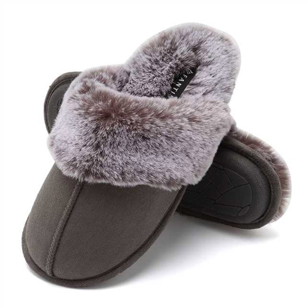 CIOR Fantiny Women's Memory Foam Slippers Faux Fur Lining Slip on Clog Scuff House Shoes Indoor Outdoor