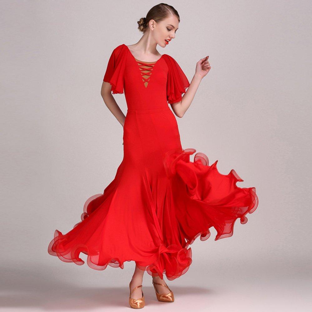 モダンな女性の大きな振り子シフォンモダンダンスドレスモダンダンスドレスタンゴとワルツダンスドレスダンスコンペティションスカートロータスフェイスリーブドレスダンスコスチューム B07HHY83C5  Red XL
