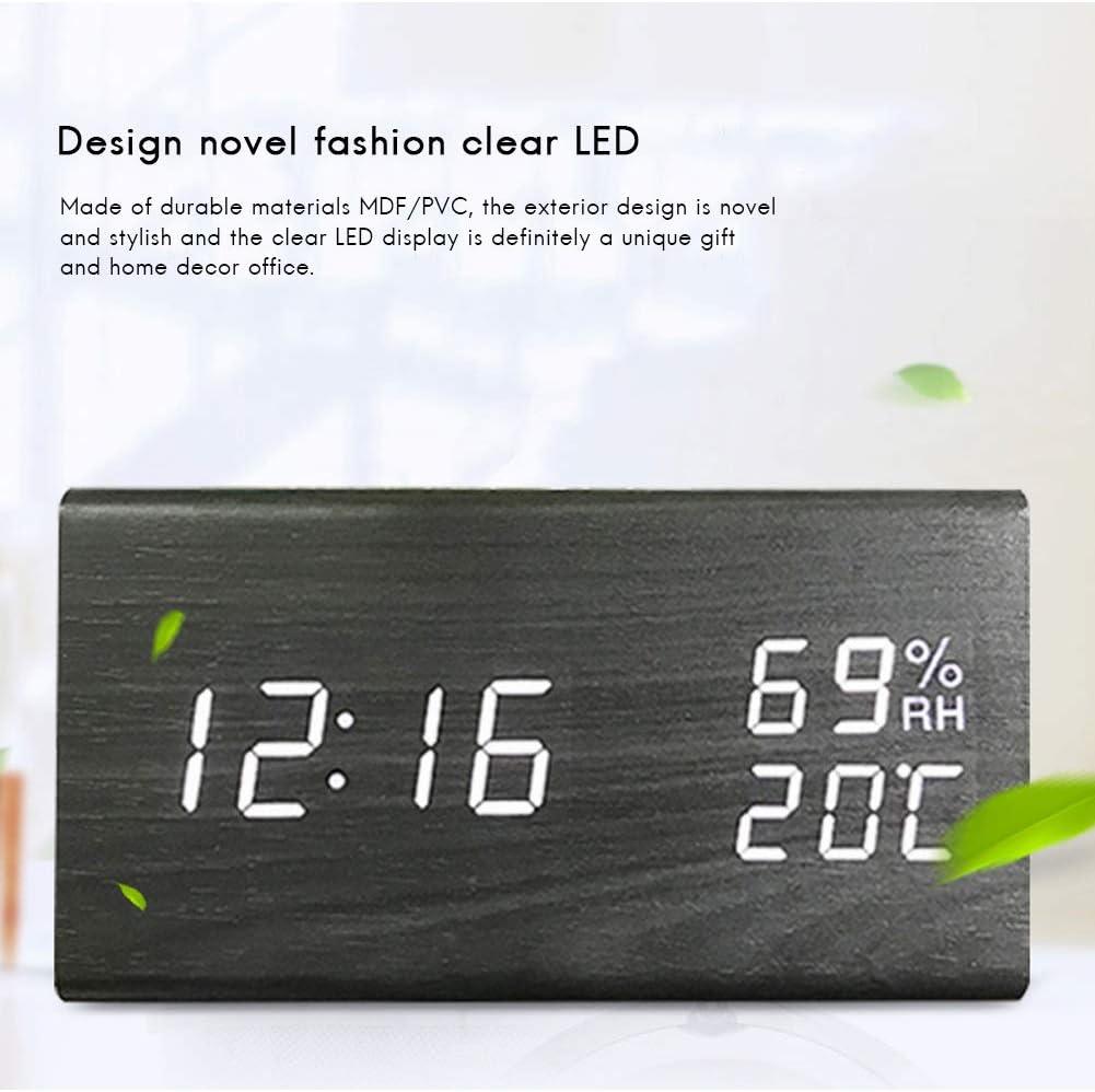 r/éveil en Bois Multi-Fonctionnel LED Affichage num/ériqueTime daffichage de Temps//temp/érature//humidit/é Horloge num/érique