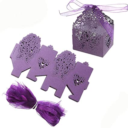 Amazon.com  ZOOYOO Butterfly Laser Cut Hollow Candy Bag with Ribbons ... f1a1791ca9
