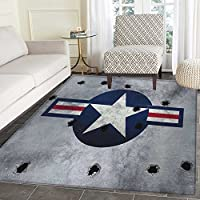 Airplane Area Silky Smooth Rugs Star on Round Circle with Stripes with Grunge Effect Backdrop Aircraft Floor Mat Pattern 3x5 Red Grey Blue White