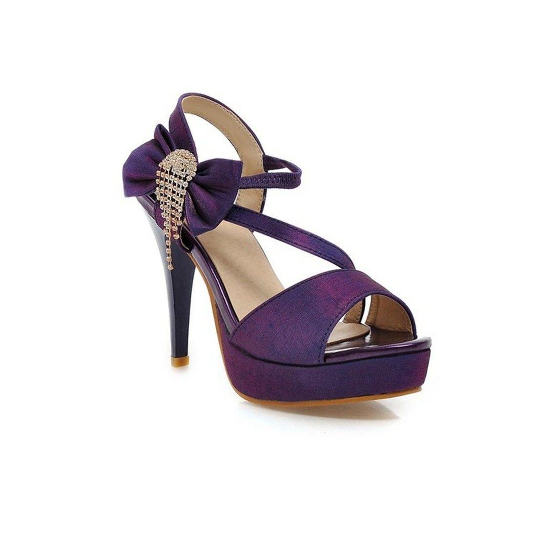 AIKAKA Chaussures pour Purple Hauts Femmes Printemps Chaussures Été Bow Plate-Forme Imperméable Sandales à Talons Hauts Purple 3516a55 - deadsea.space