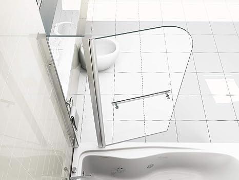 Pantalla de Ducha de Baño Sobre Panel Doble de Pivote de 180° Vidrio de 6mm